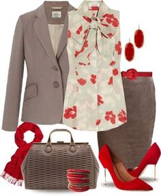Workplace chic- Grey with red accents