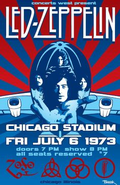 LED ZEPPELIN  CHICAGO STADIUM CONCERT POSTER