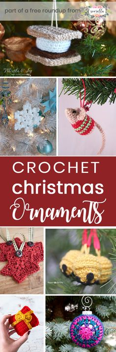 Crochet these festive fun ornaments for holiday decor from my crochet christmas ornament free pattern roundup!
