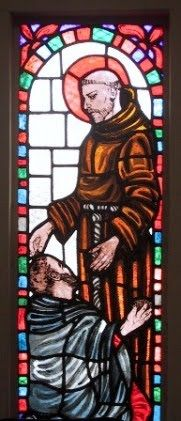 Francis with a lepard. This window is in the hospice in Johannesburg, South-Africa