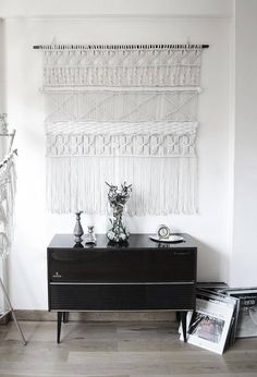 Macrame wall hanging/bed header/room divider with cotton rope