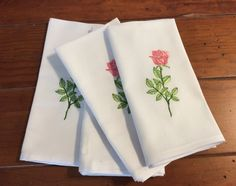 Beautiful White  Cutwork Napkins with assorted colored Tulips Embroidered on them are Beautiful for your Kitchen, Dining Room , Patio.   They are a perfect Bridal Shower Gift, Hostess Gift, Housewarming Gift, Birthday Gift, Thank You gift or just buy yourself something Bridal Shower Tables, Bridal Shower Gifts, Kitchen Dining, Dining Room, Cloth Dinner Napkins, Beautiful Pink Roses, Handmade Table, May 7th, Classic Beauty