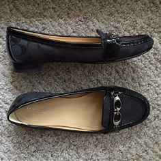 Black coach loafers Tried to make these work, but sadly just too big for my feet. Bottom shows some wear, but top and inside is flawless. These do not look worn. Fabric has black C's on it, patent leather detailing. Very nice, soft leather shoes- sincerely wished these fit me Coach Shoes Flats & Loafers
