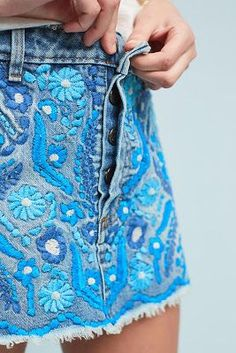 Try a fun embroidered denim skirt this spring. Let Daily Dress Me help you find the perfect outfit for whatever the weather! dailydressme.com/