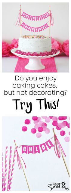 I love to bake my own cakes, but I don't have the skills or patience for fancy frosting.  This is a great solution! Personalize with your wording, your theme and your colors!