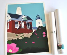 Pemaquid Point Light Bell, Maine Print (18x24 Giclee Poster, Wall Decor Art). Pemaquid Point Light Bell by Graphic Artist Alan Claude. Pemaquid Point Light is one of my favorite lights partly because it has remained unchanged for so many years. I frequently go to this place for solitude and to collect my thoughts. One can come and watch waves pound the granite shore, see a Fresnel lens up close and think about what daily life was like back then. After many visits and sketches throughout…