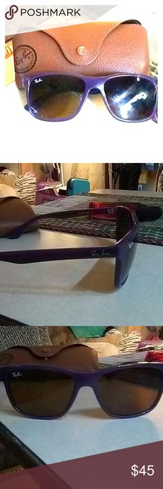"""Ray-Ban """"Authentic"""" Sunglasses Authentic 100% real Purple Ray-Bans, like new in great condition with no scratches nor flaws, comes with case & cloth...love them but too big for my 13 yr old daughters narrow small face... Ray-Ban Accessories Sunglasses"""