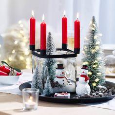 Kerzenhalter mit 4 Tüllen, 15x15x17cm, schwarz, schwarz