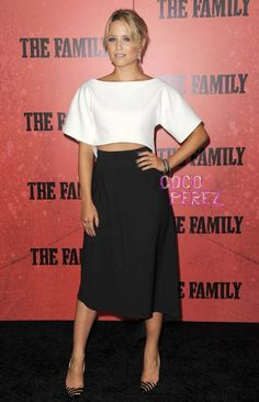 Dianna Agron brings a chic monochrome look to The Family premiere red carpet!
