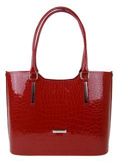 Červená kabelka v krokodýlím designu Fina
