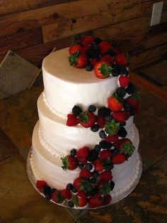 Wedding Cake With Cascading Strawberries