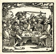 The Church of Antichrist; the right half of the lower portion of a block previously used for a title border for the Nuremberg Bible of 1530. A group of people seated around a table playing cards and eating. Behind them a swordfight and an amorous couple. Woodcut