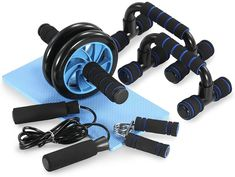 Shop TOMSHOO 5 Pieces Fitness Exercise Set - Hand Gripper Jump Rope AB Roller Push-Up Bar Knee Pad Perfect Daily Home Ab Workout Equipment Set (Black all). Push Up Workout, Bar Workout, Ab Workout At Home, At Home Workouts, Workout Rooms, Ab Roller, Roller Set, Push Up Bars, Lower Belly Workout