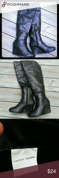 Chinese Laundry Venora Over the Knee Wedge Boot A wedge boot should be on every fashionista's wish list this fall. Gently worn and well taken care off boots witj some scuffing on the heels. Chinese Laundry Shoes Over the Knee Boots