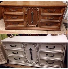 """Before and after """"misty morning"""" paint with """"mud pie"""" wax #junkpaint #dirtywax #chalkpaint #shabbychic #revamped"""