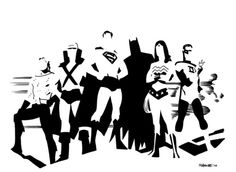 noahbodie:    Minimalist classic Justice League roster by Chris Samnee, for Comic Twart back in '10