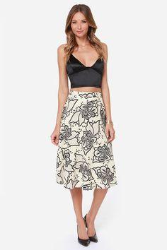 Garden Show Black and Cream Floral Print Midi Skirt at LuLus.com! $47