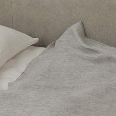 fog linen - chambray linen blanket, grey