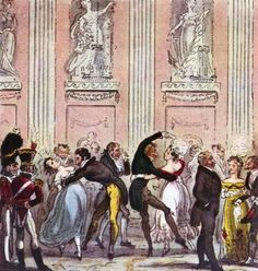The Cyprian's Ball.                                           From: 1826  The English Spy by Robert Cruikshank via Google Books (PD-150)