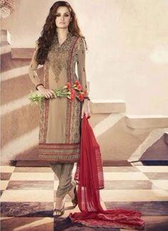 Brown Thread Resham Work Lace Border Georgette Casual Churidar Salwar Kameez http://www.angelnx.com/Salwar-Kameez/Churidar-Suits