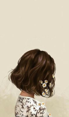 digitalpainting illustration digitalart portrait flowers girl with hair art in Girl with flowers in hair illustration artYou can find illustration girl and more on our website Cute Tumblr Wallpaper, Girl Wallpaper, Ikon Wallpaper, Beautiful Wallpaper, Girls With Flowers, Flowers In Hair, Cover Wattpad, Girly Drawings, Easy Drawings