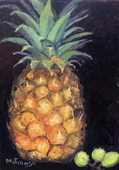 "Daily Paintworks - ""Pineapple and Grapes"" - Original Fine Art for Sale - © Patricia Matranga"