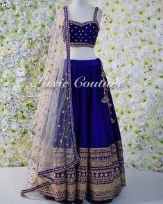 new Ideas bridal lehenga royal blue saris Raw Silk Lehenga, Indian Lehenga, Lehenga Choli, Royal Blue Lehenga, Navy Blue Lehenga, Gold Lehenga, Half Saree Designs, Lehenga Designs, Indian Wedding Outfits
