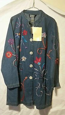 NWT QVC Indigo Moon Embroidered Duster Jacket Denim L