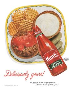 Hunt's Catsup Ad, Hamburger & Waffle Fries with Ketchup Vintage Advertisement Art Print, Diner / Retro Kitchen Wall Decor Old Advertisements, Retro Advertising, Retro Ads, Vintage Ads, Vintage Posters, Vintage Food, Retro Food, 1950s Food, 1950s Ads