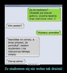 Funny Sms, Funny Messages, Wtf Funny, Polish Memes, Smile Everyday, Life Humor, Best Memes, Haha, Funny Pictures