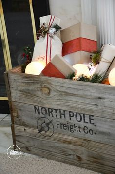 Make this adorable christmas crate to hold anything including gifts from Santa! #christmasdecor #christmas