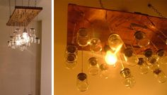 Chandelier Made from Baby Food Jars and Reclaimed Wood