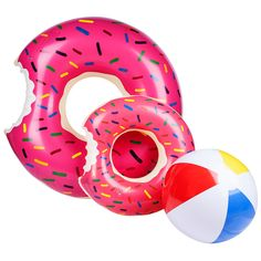 """ADESKU Donut Pool Floats, Giant Strawberry Swim Rings for Beach and Pool, 2 Pack with a Beach Ball. Product Include: 1 x large pool float, 1 x small pool float and 1 x 20.08"""" water polo. Suitable for kids & adults, pink frosting and colorful sprinkles allow you to spend a relaxing and funny summer in the pool or the beach. Note: pump or device for inflation not included. Durability - Made of high quality, thick durable material, inflate and deflate quickly. Strong enough to hold, durable..."""
