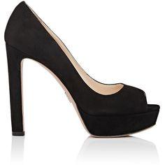 Prada Women's Peep-Toe Platform Pumps ($750) ❤ liked on Polyvore featuring shoes, pumps, sapatos, black, high heel platform pumps, black peep toe pumps, black platform shoes, black slip-on shoes and platform pumps