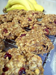 Banana Oat Breakfast Cookies  1 1/2 cups oatmeal, quick or old fashioned ~ uncooked  2 ripe bananas, mashed with fork until creamy  **(see update below)  1 cup unsweetened applesauce  1/3  dried cranberries   1/4 cup chopped walnuts  1 tsp vanilla   1 tsp cinnamon