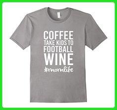 Mens Coffee Take Kids To Football Wine T-Shirt Medium Slate - Food and drink shirts (*Amazon Partner-Link)