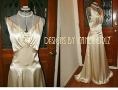 1930s Style Custom Made Art Deco Ann Dress Plunge by WofaWorld, $895.00