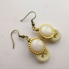 White Pearl with gold tone Vintage Button Earrings - Retro Style Jewelry by buttonsoupjewelry on etsy