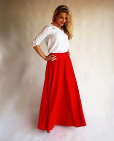 Maxi skirt red/ floor length skirt/ long skirt red/ by ADORIQUE