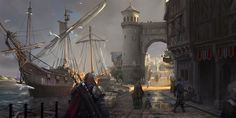 ArtStation port Z Q Fantasy landscape Fantasy city Fantasy art landscapes