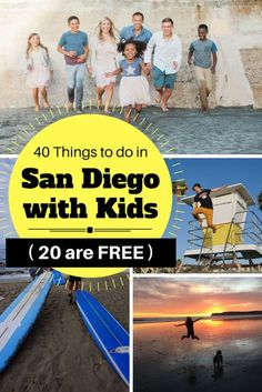 Check out the TOP 40 Things to do in San Diego with Kids and 20 of them are FREE! These are the best San Diego attractions for kids in San Diego. You will discover the off-the-beaten-path local favorites to help you plan your best San Diego vacation with San Diego Attractions, Kids Attractions, San Diego Vacation, San Diego Travel, California With Kids, California Travel, California Destinations, Southern California, Travel With Kids
