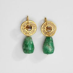 Pair of earrings  Place of origin: Europe (made)  Date: 1st century-4th century (made)  Artist/Maker: Unknown (production)  Materials and Techniques: Gold, emerald matrix