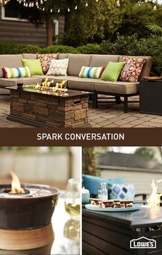 Elevate your patio with an outdoor fireplace. A centrally placed fire pit becomes a natural gathering space for friends and family.