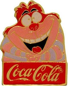 """Disney Cheshire Cat Alice in Wonderland Cast Member coke Pin. WDW - Cast 15th Anniversary Coca-Cola Cheshire Cat Here's the Cheshire Cat from Alice in Wonderland. Cast Member celebrating Walt Disney World 15th anniversary. The pin reads """"Coca-Cola"""" (Coke) at the bottom: gold lettering in a red bar. Price 20.97 at  ToysbyStacy.com"""