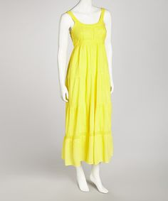 Take a look at this Yellow Crocheted Maxi Dress - Women by SR Fashions on #zulily today!