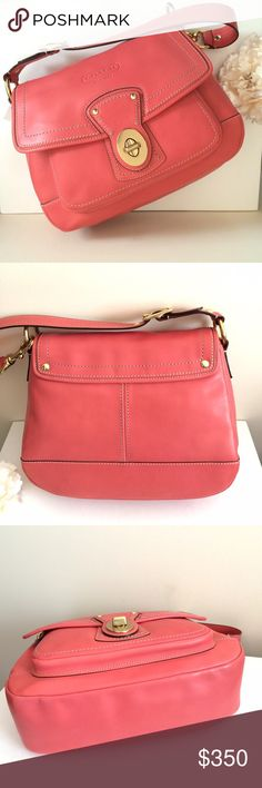 """NWT $398 COACH Legacy Leather Flap Handbag """"ROSE"""" Authentic NWT (New with Tag) $398 COACH Legacy Leather Flap Shoulder Purse In """"ROSE"""" (coral pink). CONDITION: New (never used). SIZE: 13"""" x 10"""" x 4"""" inches approximately. GORGEOUS LEATHER & COLOR! Such a statement bag! Coach Bags Shoulder Bags"""