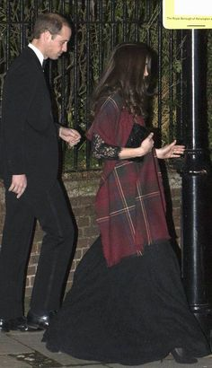 "dailyexpress:  The Duke and Duchess of Cambridge attended the wedding of friends Tom Eaves and Libby Keir at Chelsea Old Church, London, December 13, 2014; the Duchess wore her black ""Zarita"" Diane von Furstenburg gown she wore to the Royal Variety Performance in November, with her Vintage Magrid bag and cashmere tartan shawl from Really Wild Clothing."