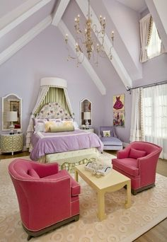 Dreamy space - love the lavender and red combo; love the dressed up, upper window and painted dress on the far wall; interesting sitting arrangement.