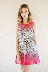 Neon Rose Pink Ombre Dip Dyed Floral Dress | ScaryCanary
