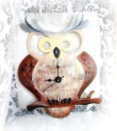 Wooden owl clock large wall clock eco friendly wall by GattyGatty